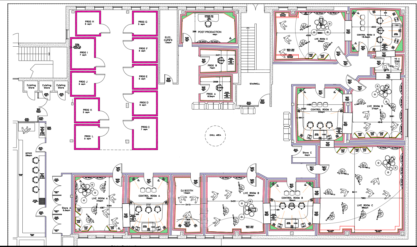 Facilities music at northbrook for Music studio floor plans